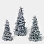 56 49005 Silver Glittered Tree , set of 3