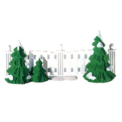 56 52078 frosty tree-lined picket fence