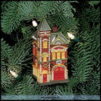 56 98758 red brick fire station ornament