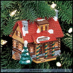 56 98637-pinewood log cabin ornament