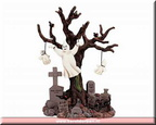 24763-poly resin lighted tree graveyard ghost