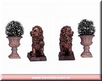 34981-lion statue and decoratice vase set of 4