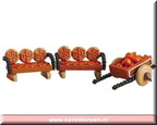 52123-pumpkin wagon and benches set of 3