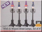 94971-witch and wizard street lamps set of 4-spookytown