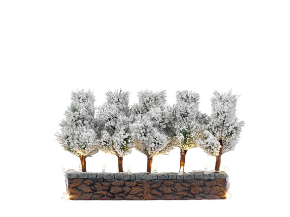 611.188-5x Bristle Trees on Stone Wall With Led Light ( B.O.)