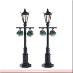 74231-old english lamp post set of 2 battery operated